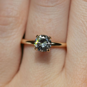 1.01ct Salt and Pepper Diamond Plain Solitaire in 14k Yellow Gold