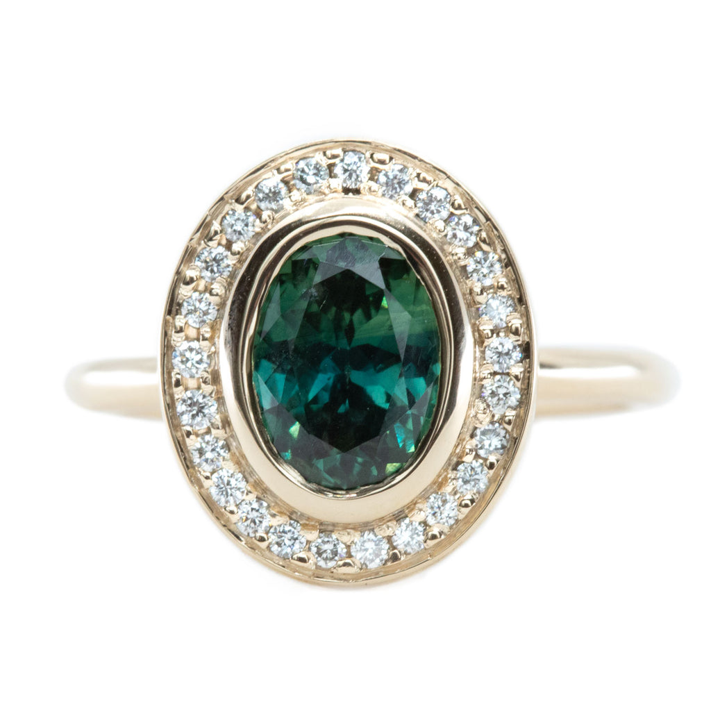 1.72ct Teal Color Change Sapphire Bezel Set Diamond Halo in 14k Yellow Gold