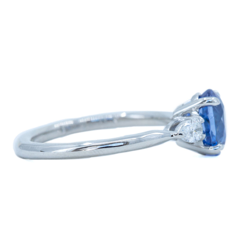 1.87ct Oval Blue Sapphire and Pear Diamond Three Stone Ring in Platinum