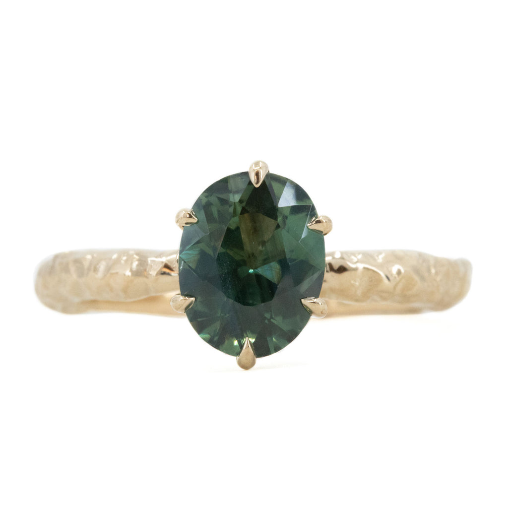 1.68ct Oval Teal Sapphire Lotus Six Prong Solitaire Ring in 14k Yellow Gold