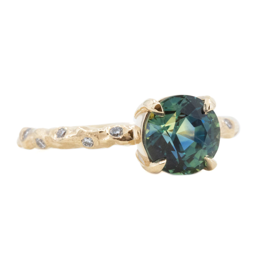 2.09ct Teal Madagascar Parti Sapphire in 14k Yellow Gold Low Profile Evergreen Solitaire with Embedded Diamonds