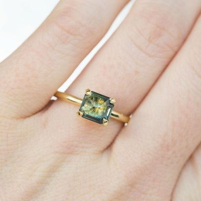 1.84ct Inverted Blue Green Emerald Cut Sapphire in 18k Yellow Gold Prong Setting