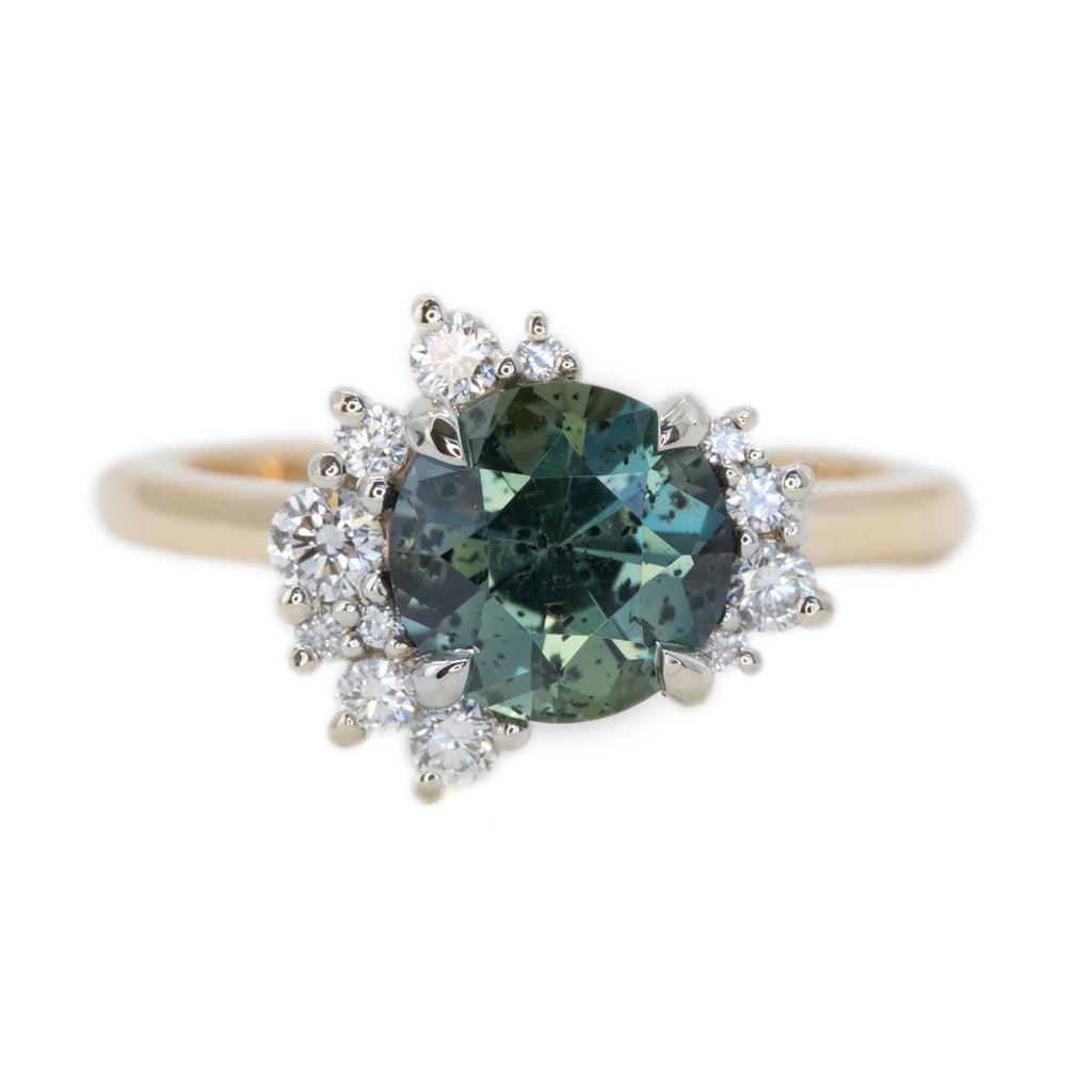 1.94ct Teal Galaxy Sapphire and Asymmetrical Diamond Cluster Ring in Two Tone 14k White and 14k Yellow Gold