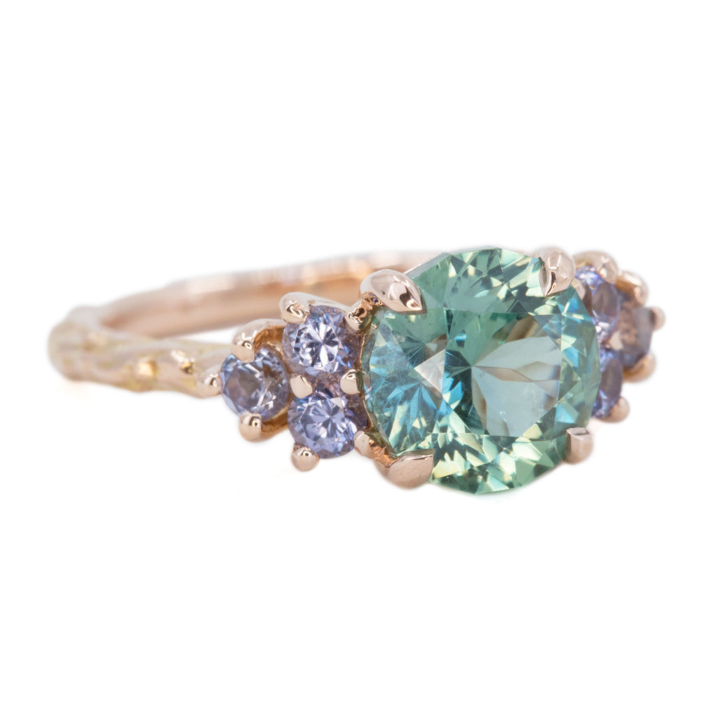 2.89ct Teal Montana Sapphire and Purple Grey Spinel Cluster Evergreen Ring in 14k Rose Gold