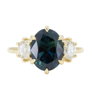 4.05ct Blue Oval Sapphire and Diamond Low Profile Antique Style Three Stone Ring in 18k Yellow Gold