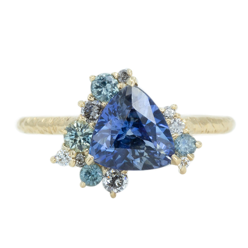 1.85ct Trillion Sapphire Asymmetrical Diamond And Sapphire Ring in 14k Yellow Gold