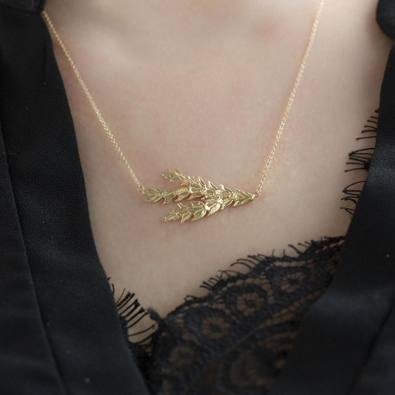 Real Gold Seattle Leaf Pendant - Real Leaf Casting in Solid Gold - Grecian Forest Necklace - Leaves Nature necklace by Anueva Jewelry