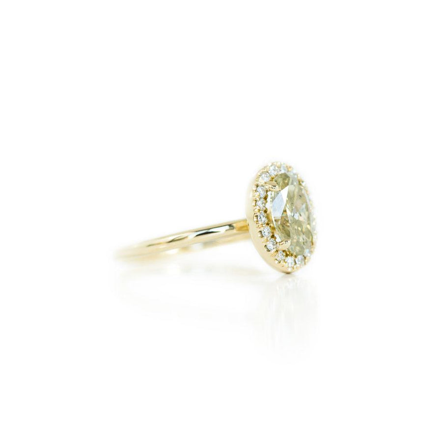 1.12ct Green-Grey Oval Diamond in 14k Yellow Gold Halo Setting