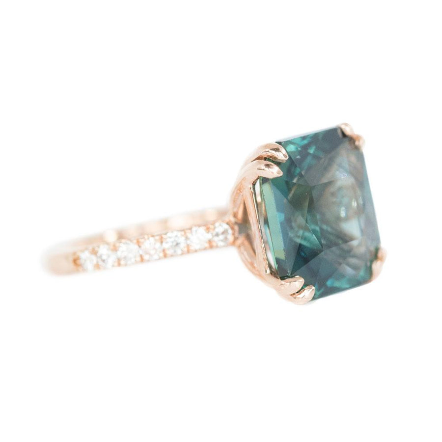 5.67ct Radiant Cut Teal Sapphire Ring with French Set Diamond Studded Band in 18k Rose Gold
