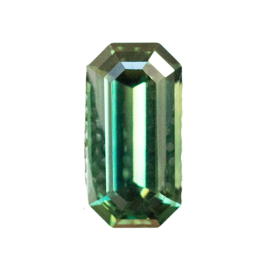 2.15CT EMERALD CUT NIGERIAN SAPPHIRE, LONG GREEN EMERALD CUT, UNHEATED, GREAT CLARITY NO VISIBLE INCLUSIONS, 10.2X5.2MM
