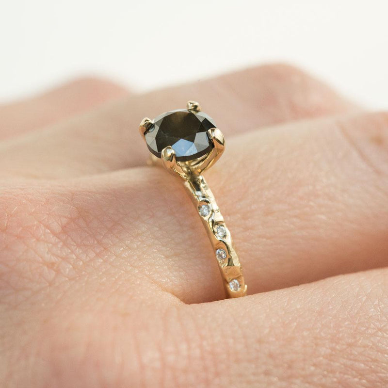 1.72ct Black Diamond in 14k Yellow Gold Evergreen Setting with Embedded Diamonds