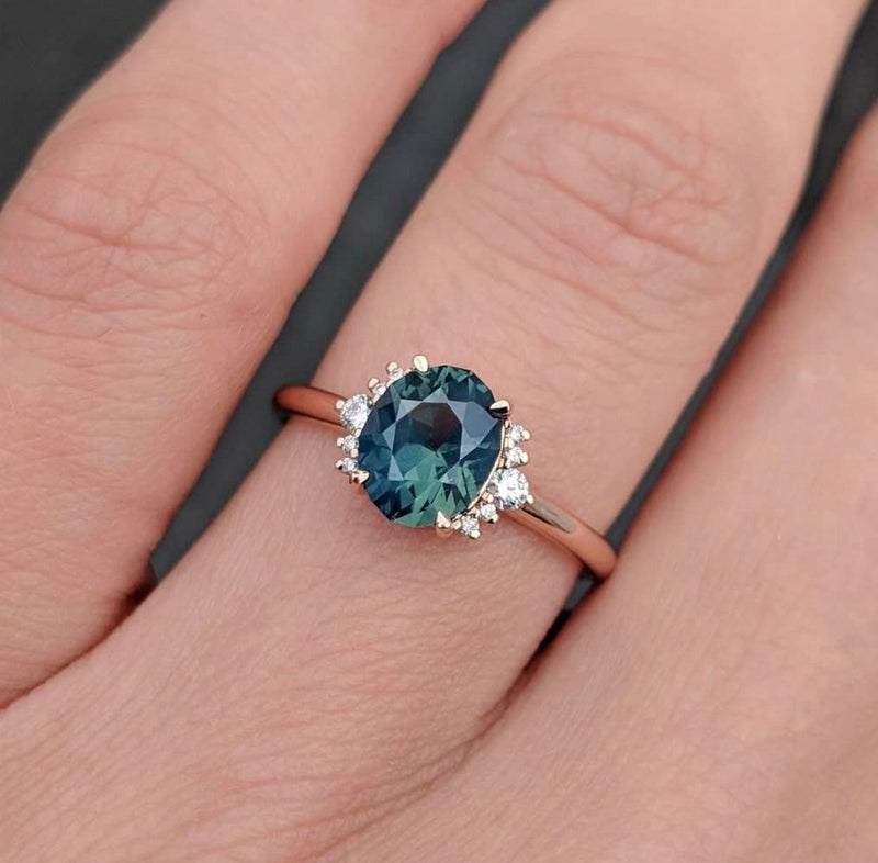 Custom Order-  1.73ct Sapphire with 1/2 Diamond Halo Ring - Reserved for C.L