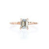 1.01ct Light Champagne Emerald Cut Diamond in Rose Gold Evergreen Solitaire