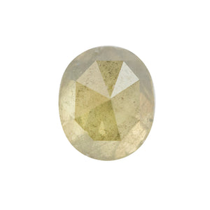 1.02CT OVAL ROSECUT DIAMOND, NATURAL GREEN WITH GOLDEN GLOW, LIGHT SMOKY INCLUSIONS, 6.3X5.3MM