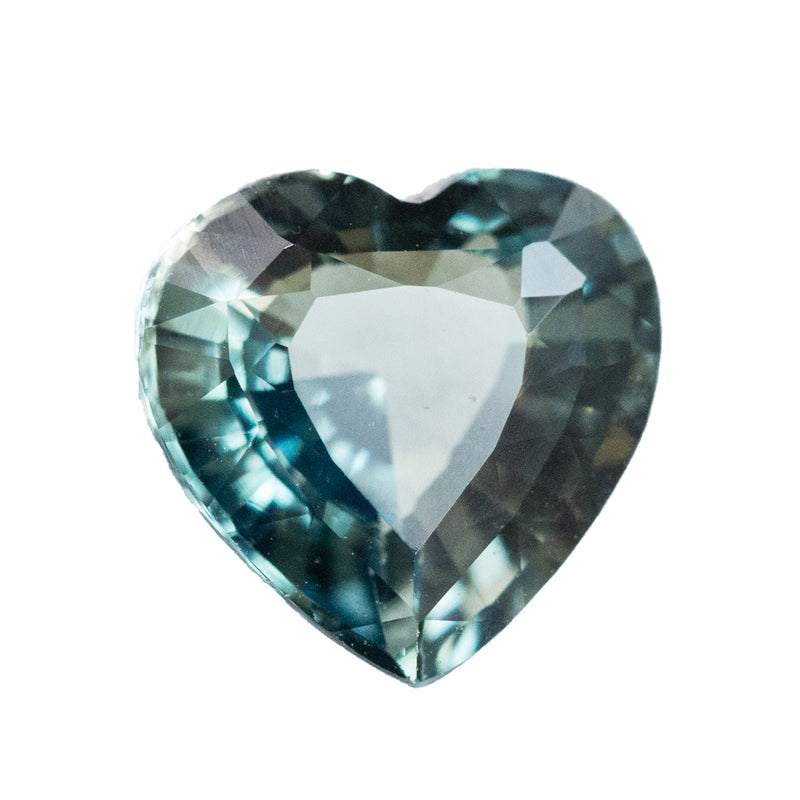 2.02CT HEART SHAPE, MADAGASCAR, SKY BLUE WITH GREENS AND BROWNS, GREYS, GREAT CLARITY, UNHEATED, 7.8X7.9X4.27MM