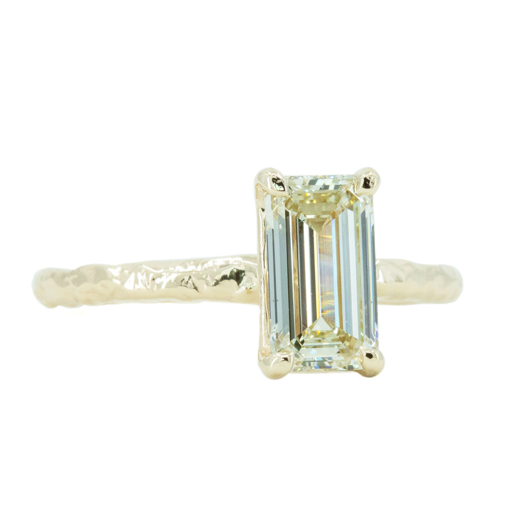 1.30ct Light Champagne Emerald Cut Diamond Solitaire Evergreen Ring In 14k Yellow Gold