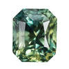 3.56CT EMERALD CUT, MADAGASCAR, SWIRLED MULTI COLOR BLUE/GREEN/YELLOW/TEAL, GREAT CLARITY, UNHEATED, DEEP STONE, 7.85X6.5X7.04MM