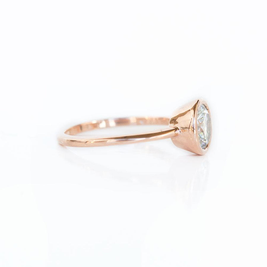 Grey Moissanite Rose Gold Bezel Set Solitaire Ring