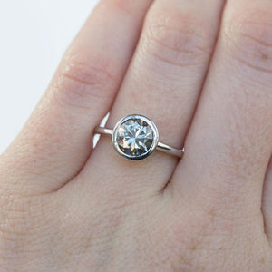Grey Moissanite White Gold Bezel Set Solitaire Ring