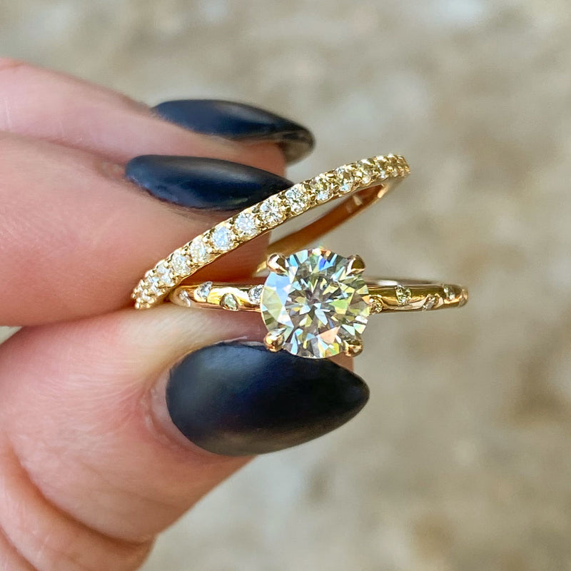 Grey Moissante and Scattered Diamond Solitaire in 14k Yellow Gold