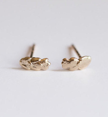 Mini Gold Leaf Stud Earrings - Real Leaf Castings in Solid Gold - Second Ear Piercing - Minimalist Jewelry - Grecian - Organic by Anueva
