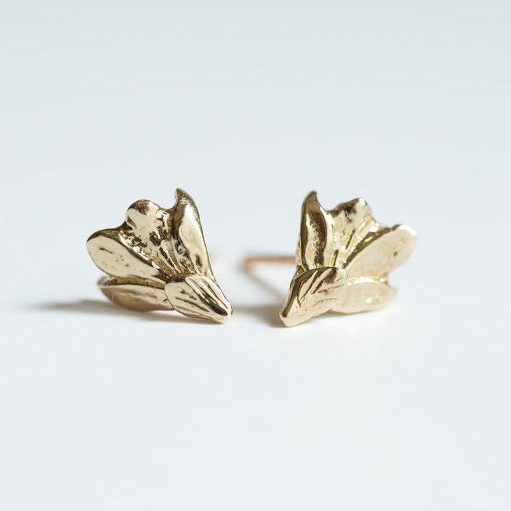 Grecian Gold Leaf Stud Earrings - Real Leaf Castings in Solid Gold - Gold Leaf Earrings - Organic Handmade by Anueva Jewelry