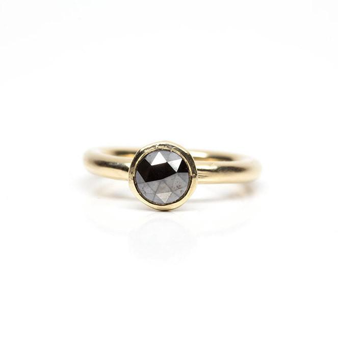 rough rosecut black gray diamond freeform hand carved recycled gold engagement diamond ring