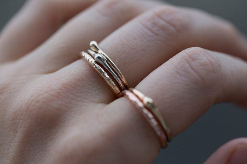 Dewdrop Band in Reclaimed Gold - Recycled Gold stacking ring - Freeform thin solid gold band in rose, yellow, white gold by Anueva Jewelry