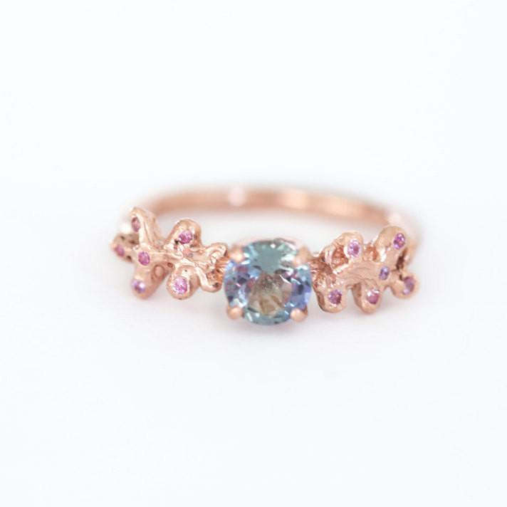 Attractive Rose Gold Tanzanite Mermaid Coral Boho Ring- Pink Sapphire Accents  HE84