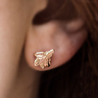nature leaf handmade gold leaves fine recycled gold earrings studs