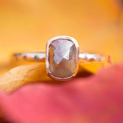 Natural Red Peach Cushion Shaped Rose Cut Rough Diamond Ring in Reclaimed Rose Gold - Alternative Engagement Ring - Unique Engagement Ring