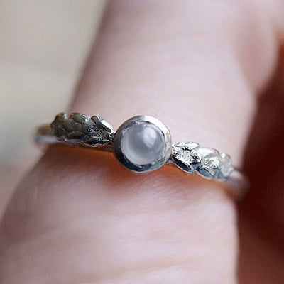 Seattle Leaf Ring Rare Diamond Cabochon in Recycled White Gold - White Rustic Diamond Ring - Seattle engagement ring  by Anueva Jewelry