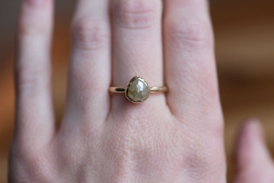 Rustic Yellow Pear Diamond Engagement Ring in Reclaimed Yellow Gold - Unique Earthy Engagement Ring - Yellow Rosecut Diamond ring by Anueva