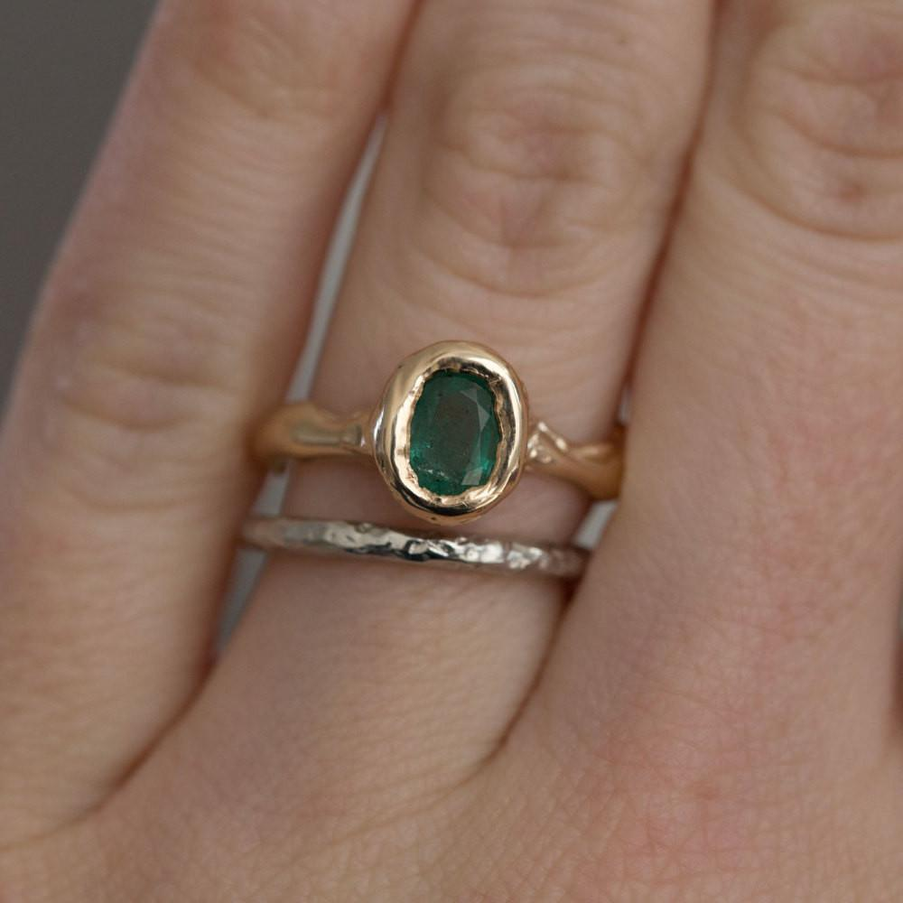 Green Emerald Yellow Gold Ring - March Birthstone - Natural Emerald Organic Ring - Freeform hand carved recycled gold ring by Anueva Jewelry