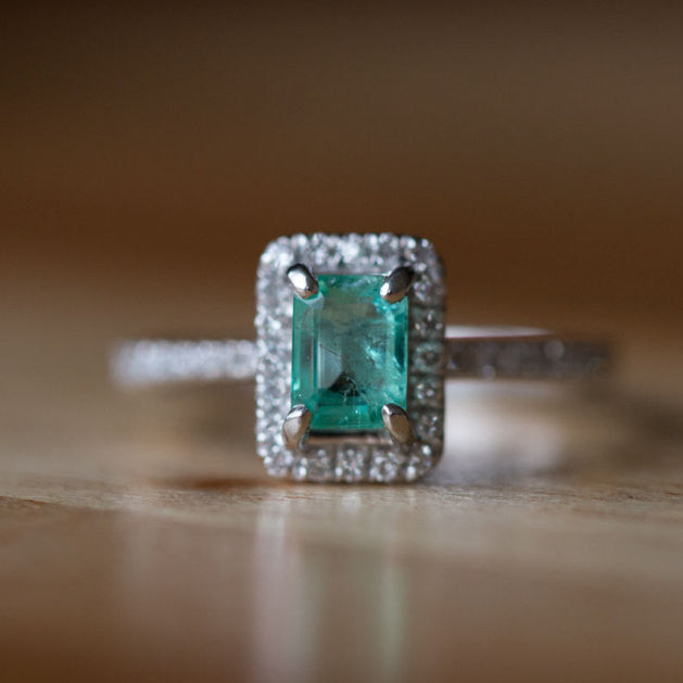 Emerald Engagement Ring - Platinum Teal Diamond Emerald Ring - Petite Engagement Ring Size 4.5 - Antique Inspired Jewelry by Anueva Jewelry