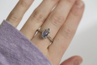 Tanzanite White Gold Ring - Artifact Ring - Hand Carved Purple Tanzanite Rose Cut ring in Recycled White 10k Gold by Anueva Jewelry