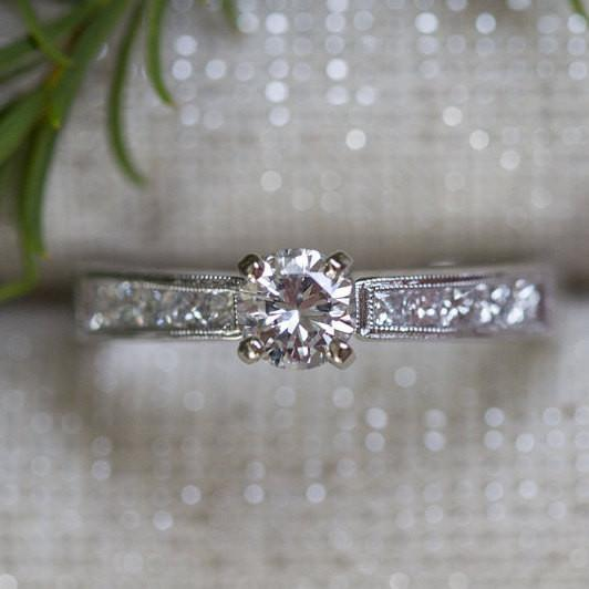 Reclaimed Vintage Diamond Milgrain Engagement Ring -  Channel Set Princess Diamond Band   - Fine Bridal by Anueva Jewelry