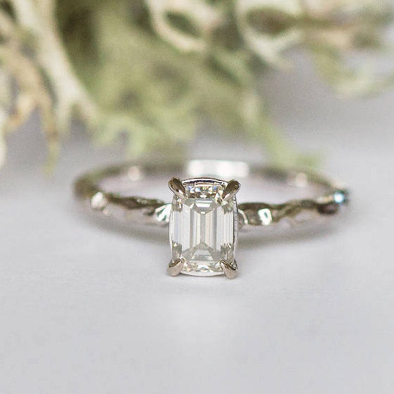 evergreen rustic moissanite hand carved emerald cut engagement ring