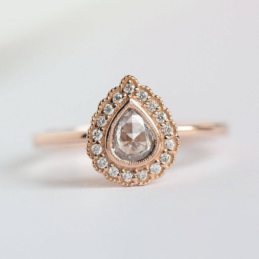 Rose Gold Pear Rosecut Diamond Antique Style Engagement Ring - Milgrain detail scalloped diamond halo with bezel set pear by Anueva Jewelry