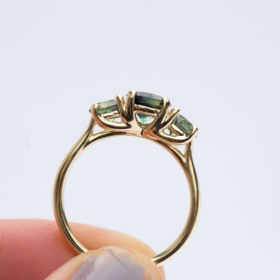Rare Three Stone Blue Green Sapphire Engagement Ring - Mermaid Bi Color Sapphire Ring in Yellow Gold-  Unique Engagement Ring by Anueva
