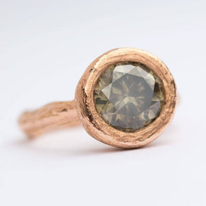 Custom Order-  3.02ct Grey Diamond and Rose Gold Carved Bezel Ring