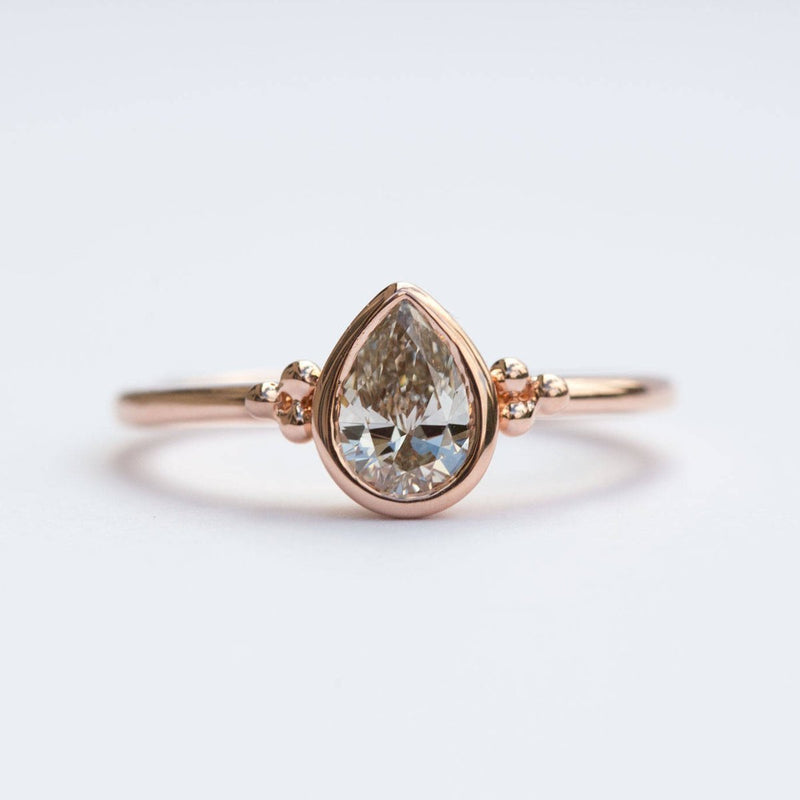 Custom Order-  1.29ct Rosecut Pear Diamond Low Profile Bezel Set Ring. Reserved for M