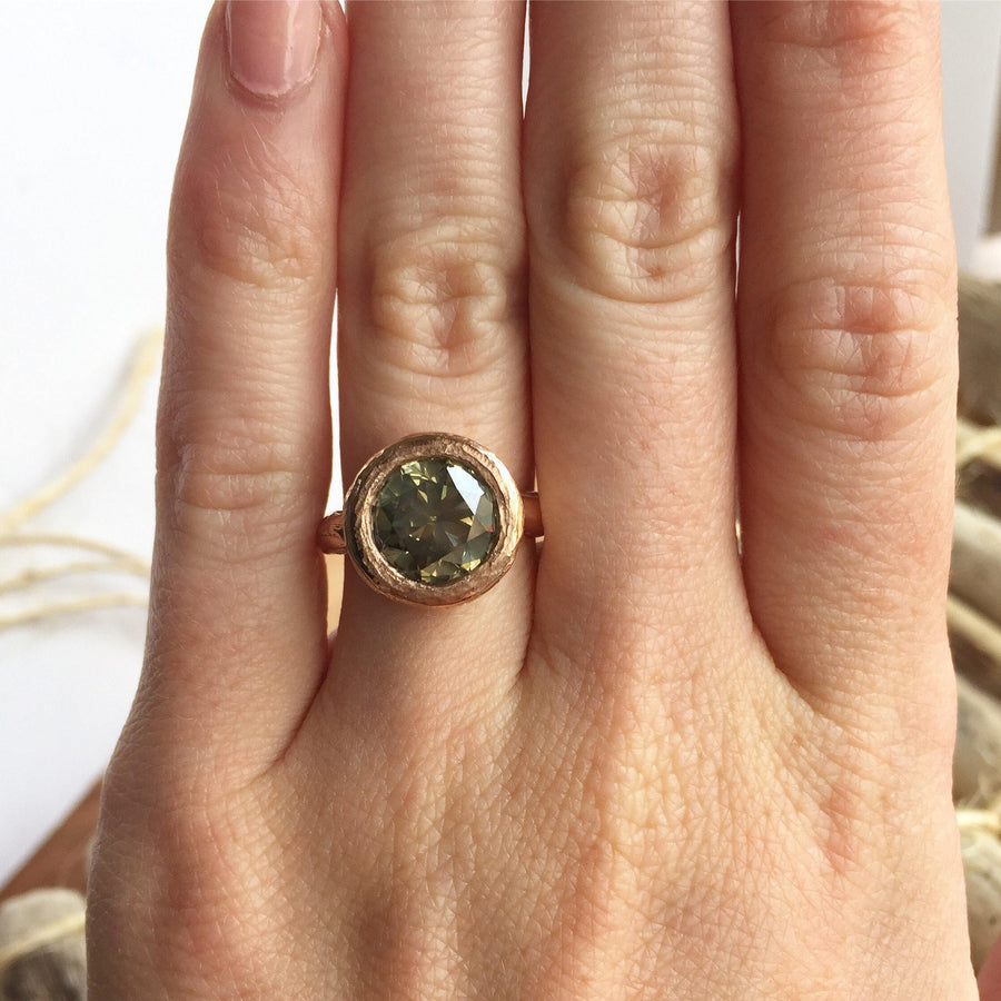Hand Carved rose gold green big diamond bezel set three carat ring by Anueva Jewelry