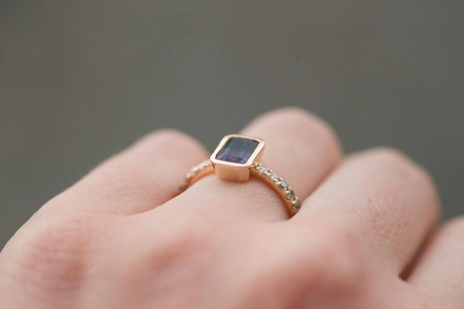Black and Pink Bi Color Tourmaline Ring in yellow gold with ombré ...