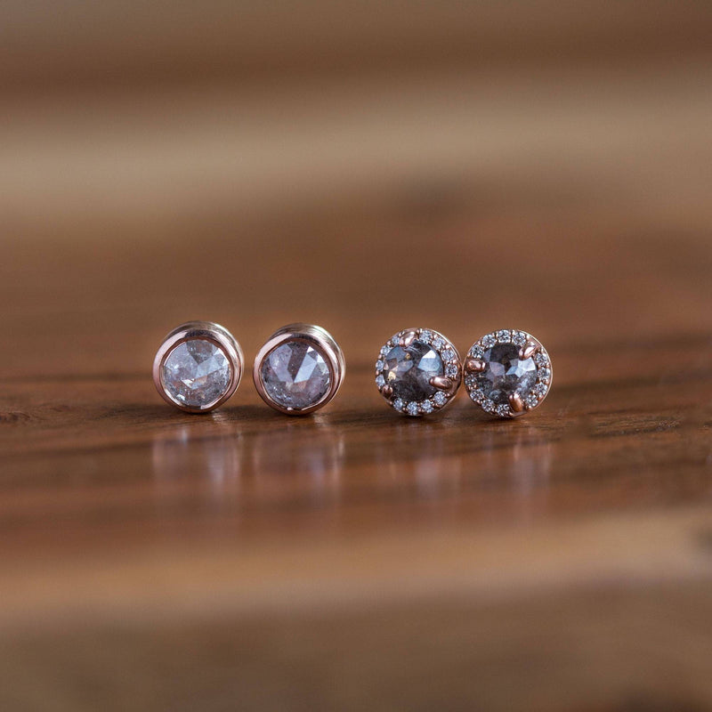salt and pepper rosecut diamond rose recycled galaxy diamond halo gray stud earrings
