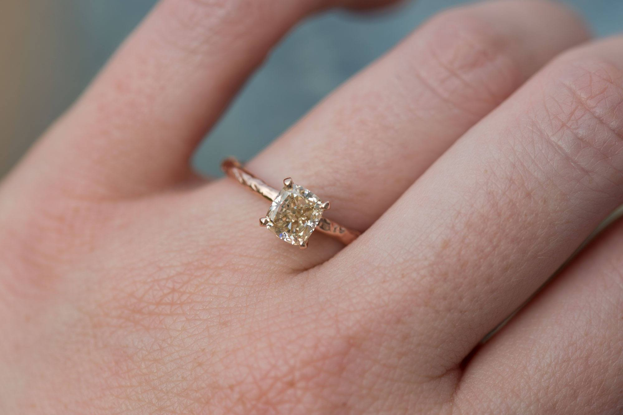1ct Champagne Cushion Diamond in Hand Carved Solitaire Engagement ...