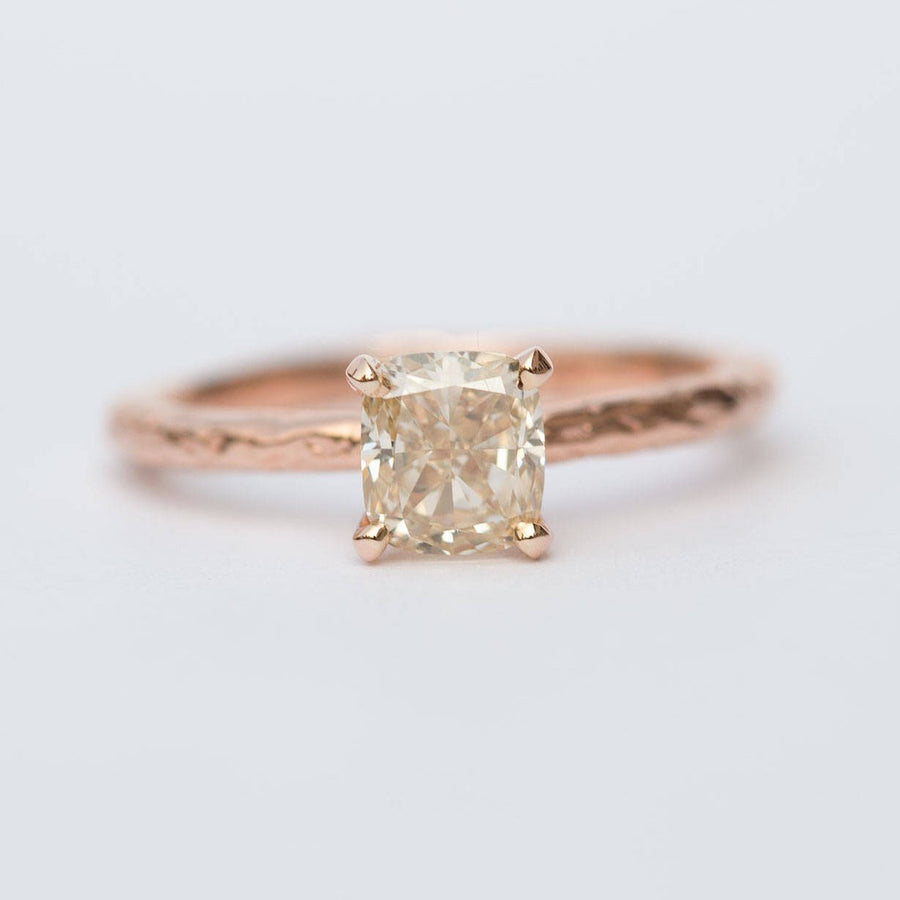 evergreen champagne cushion cut diamond solitaire rose recycled gold handmade engagement ring
