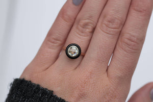 black target onyx halo moissanite art deco antique inspired engagement ring