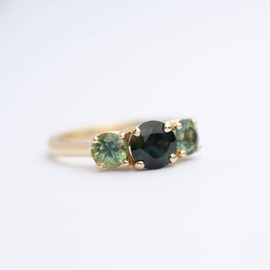 rare three stone blue green sapphire engagement ring mermaid bi color sapphire ring in yellow