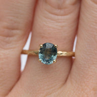 Light Blue Sapphire Engagement Ring - Organic Carved Yellow Gold Prong Setting - Teal Mermaid Sapphire -  Unique Engagement Ring by Anueva